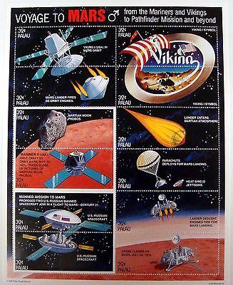 Palau Space Stamps Sheet Voyage To Mars Viking Mars Lander Spacecraft Mariner 9