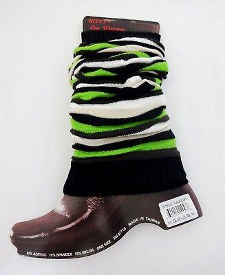 Leg Warmers Black Green Brown Stripes Acrylic Sweater Knit Stretch One Size