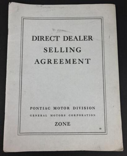 Vintage Original 1953 Pontiac Motor Division Dealer Selling Agreement