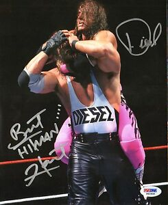 Bret-Hitman-Hart-amp-Kevin-Nash-Diesel-Signed-Auto-WWE-WWF-8x10-Photo-PSA-DNA-COA