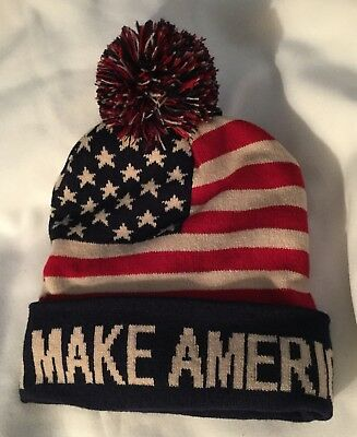 Trump Ski Cap Hat Maga Make America Great Again Red White Blue Stars Stripes