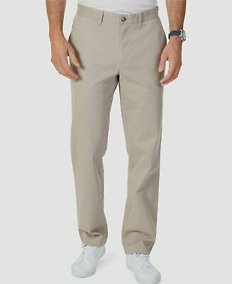 $180 Nautica Men 38W 32L Beige Classic-Fit Stretch Flat-Front Khaki Casual Pants