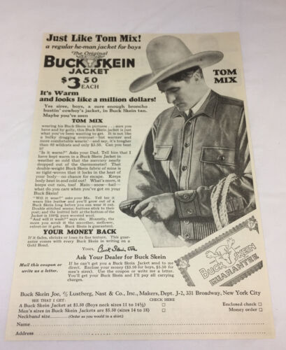 1929 ad page ~ TOM MIX Original Buck Skein Jacket ~ buckskin