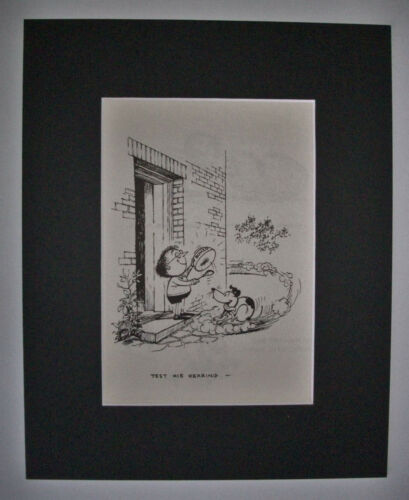 Dog Cartoon Print Norman Thelwell Test His Hearing Nose Bookplate 1964 8x10 wMat