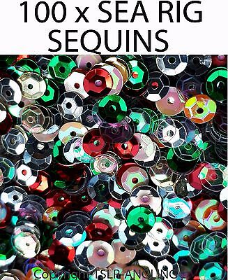 100 x SEQUINS FOR SEA FISHING TACKLE RIGS FLATFISH FLATTIE BREAM RIGS ATTRACTORS