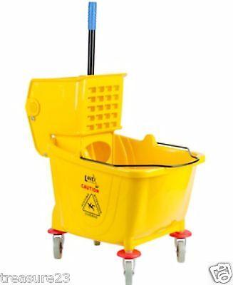 36 Quart Commercial Wet Mop Bucket & Wringer Combo Yellow Janitorial