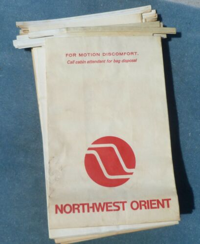 Northwest Orient Airlines Barf Bag Airsickness Vintage Meatball Fan Jet