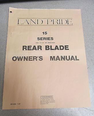 Land Pride 15 Series Rear Blade Owners Owners Manual 1987