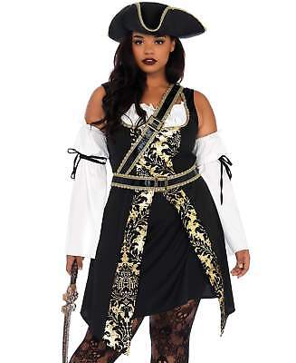 Plus Size Women Pirate Costume (Leg Avenue Women's Black Sea Buccaneer Plus Size Costume Dress Pirate)