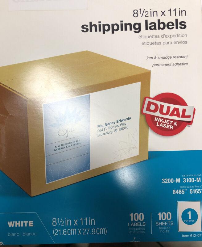 """Office Depot Brand Inkjet/Laser Permanent Full-Sheet Labels, 8 1/2"""" x 11"""", 100Pk"""