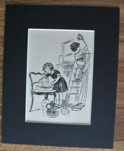Print Child Mom Houseclean Feather Duster 1930s Bookplate 8x10 Matted Adorable