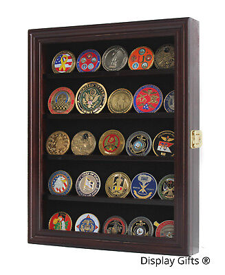 Military Coin Display - LOCKABLE Military Challenge Coin Display Case Cabinet, Solid Wood, COIN30-MA