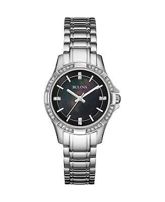 Bulova Women's Quartz Swarovski Crystal Black MOP Dial 30mm Watch 96L214