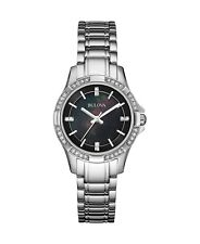 Bulova Women's Quartz Swarovski Crystal Black MOP Dial 30mm Watch 96L214