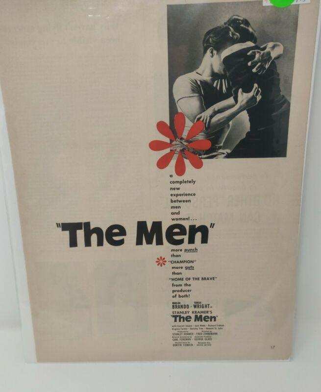 Vintage 1950 Marlon Brando The Men Movie Advertisement