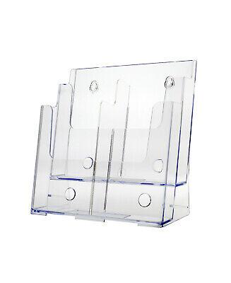 Magazine Rack Or Tri Fold Brochure Holder 2 - 4 Pocket Display Clear Acrylic