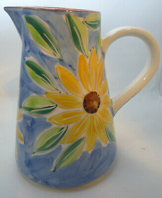 2 Qt Pitcher Ceramic Glazed PORTUGAL Hand Painted Yellow Flower Blue Pitcher (2 Qt Glazed Pitcher)