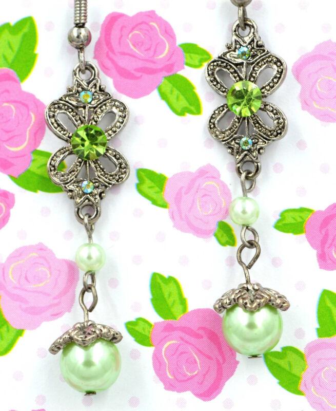 Swarovski Elements Crystal Green Peridot Butterfly Pearl Dangle Earrings Gift