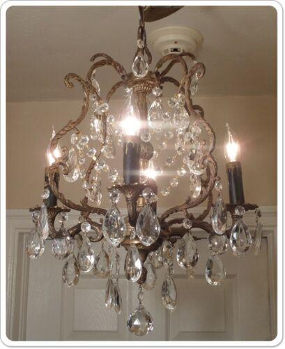Vintage Petite Antique Brass/Bronze 4 Light Chandelier With Crystals & Prisms