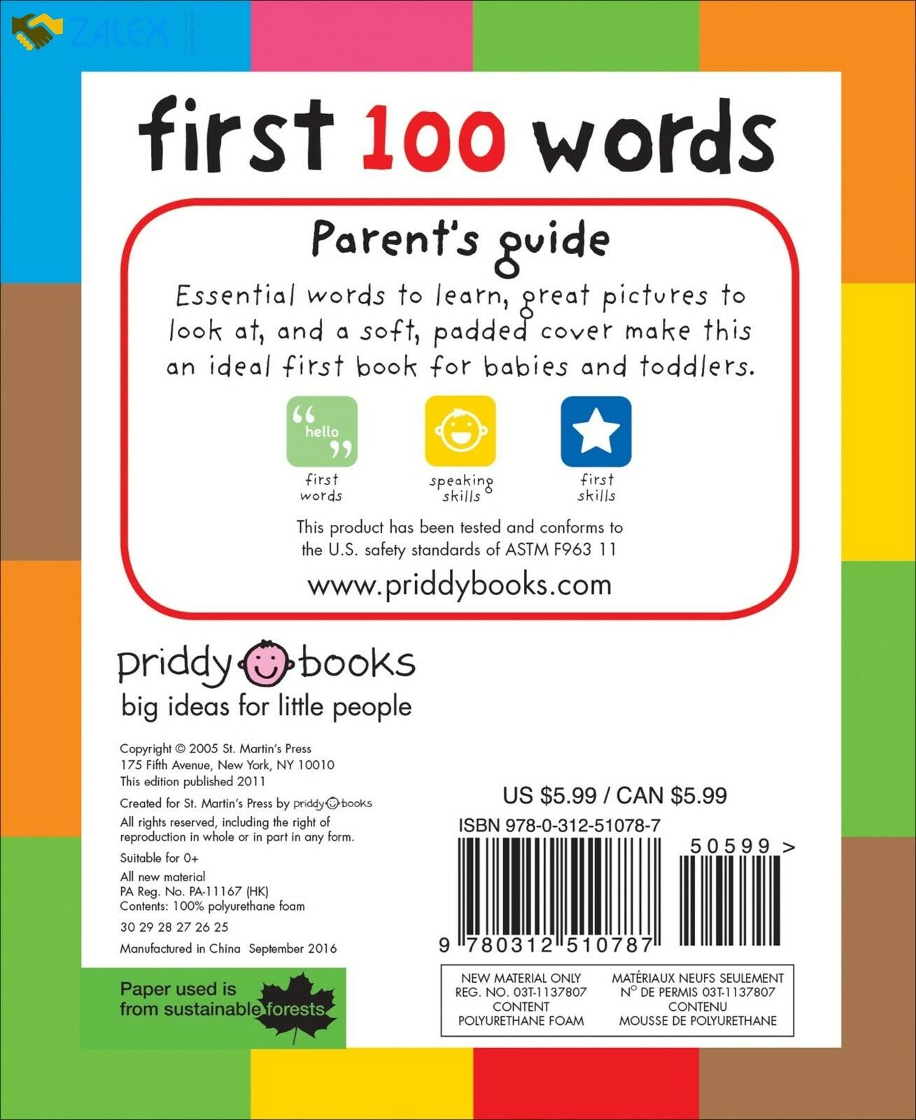 First 100 Words Toddler Learning Board Child Toy Bright Kid