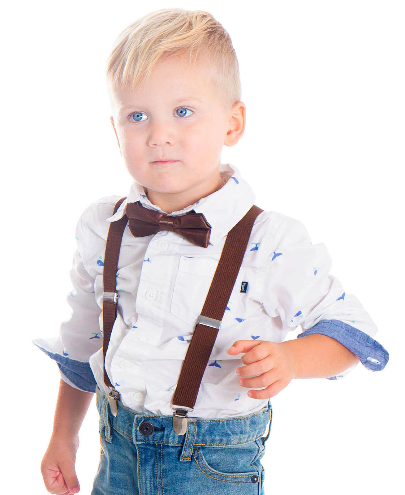 Boys Bow Ties Suspenders Birthday Outfit Party Wedding Set F