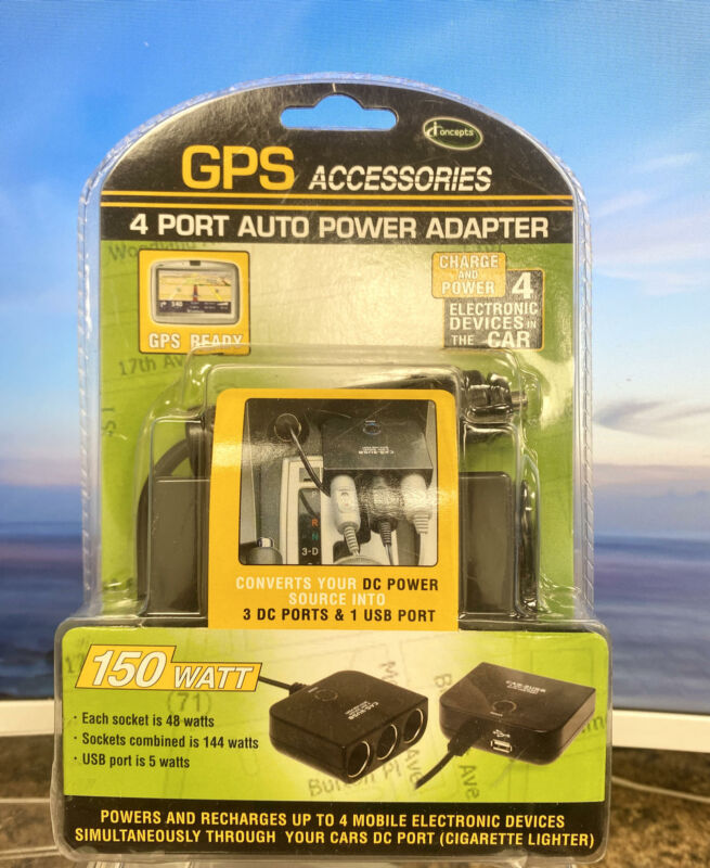 GPS Ready 4 Port Auto Power Adapter~150 Watt~Each Socket 48w, USB Port 5w