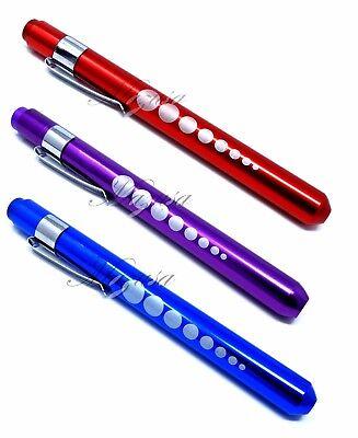 3 Reusable Red Purple Blue Aluminum Led Pocket Penlight Medical Pupil Gauge