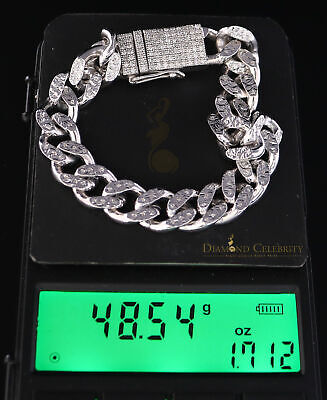 10K White Gold Finish with 2.00CT Real Diamond Silver Men's Bracelet-Size 8 Inch 4