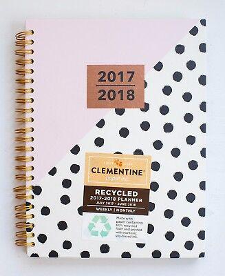 Clementine Paper Planner Monthly Weekly 2017 2018 Agenda Spiral Polka Dot