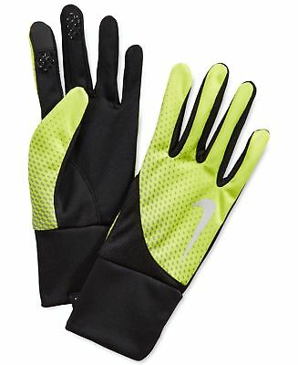 $51 NIKE MEN'S NEON YELLOW THERMAFIT RUNNING GLOVES WARM ATHLETIC WINTER SIZE S