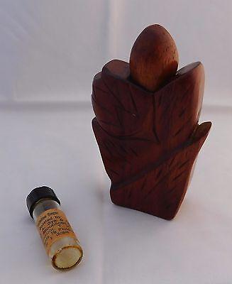 Vintage 1950s Hawaiian Hand Carved KOA Wood Perfume Bottle  John Oya Hawaii Rare