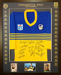 Blazed In Glory - 1986 Parramatta Eels Premiers - NRL Signed & Framed Jersey