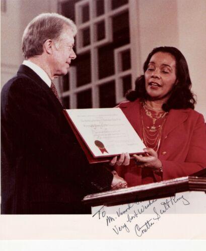 Coretta Scott King. American Civil Rights Activist. Color, 8x10, Inscribed Photo