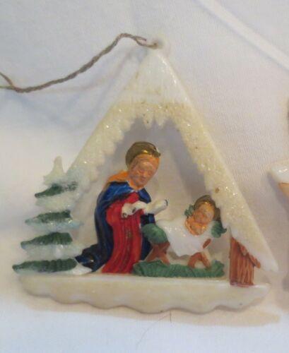 Vintage Plastic Japan Christmas Nativity Creche Miniature  ORNAMENT