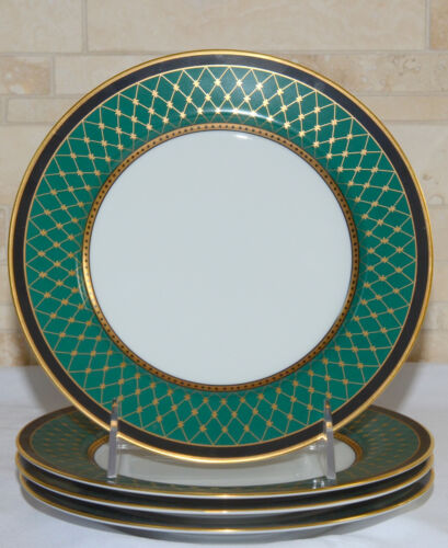 """Fitz & Floyd Chaumont * 4 SALAD PLATES * 7.5"""", Teal Green, Mint Condition!"""