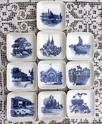 Royal Copenhagen 10 Assorted Square Butter Pin Display Dishes B&G Denmark VNTG