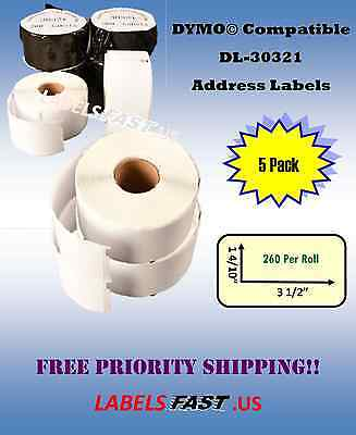 30321 Dymo 400 450 Twin Turbo Compatible Lg Address Labels - 5 Rolls