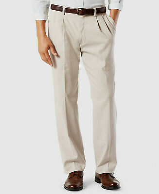 Dockers Easy Khaki Pants Classic Fit Stretch Comfort Waist Pleated Light Beige Classic Fit Pleated Khaki