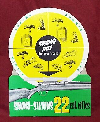 Old SAVAGE STEVENS 22 CAL RIFLES Hunting Guns STORE COUNTER DISPLAY SIGN NOS