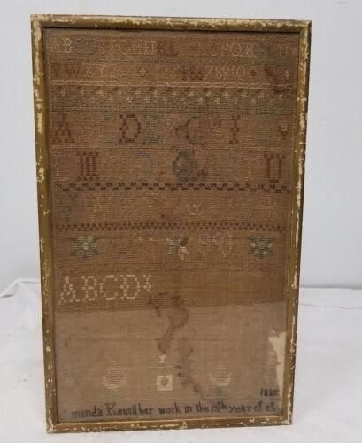 Antique 1835 Dated Folk Americana Needlework Sampler Framed
