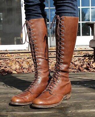 1a174a543cb74 Vintage Antique 1920s 1930s Women's Lace Up Boots 7-8 Goodyear Wingfoot 20s  30s