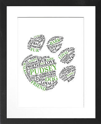 Personalised Framed Dog Paw Word Art Print in a Black or White ...