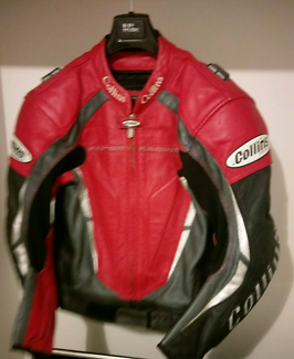Collins Red Leather Motorcycle Racing Jacket Banjup Cockburn Area Preview