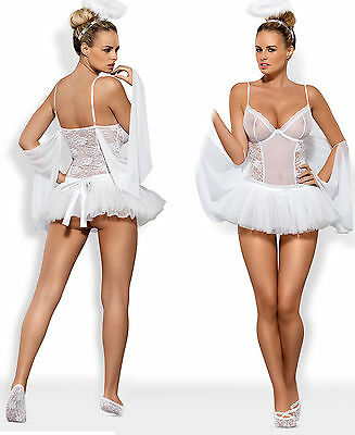 Engel Kostüm Weiß Spitzenbody Tüllrock Sexy Lingerie Ballerina Spitze  S/M - Sexy Ballerina Kostüm