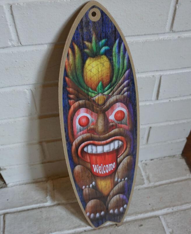 TIKI STATUE PINEAPPLE WELCOME Rustic Beach Bar Surfboard Home Decor Sign - NEW