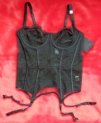 CALVIN KLEIN BLACK CORSAGE 80C 36C DESSOUS SEXY SCHWARZ KORSAGE NEU M L