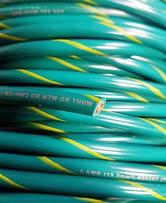 Mtw 6 Awg Gauge Greenyellow Stripe Stranded Copper Sgt Primary Power Wire 25 Ft