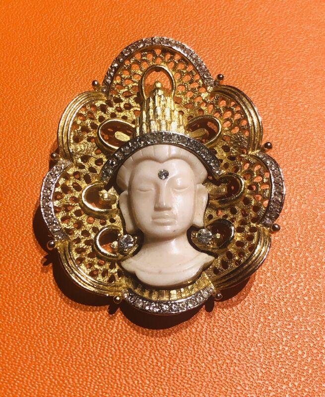 Hattie Carnegie Gold Plated White Resin Crystal Thai Princess Brooch