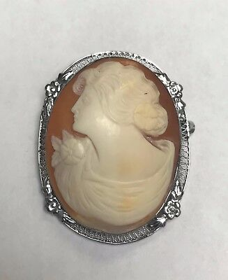Vintage CAMEO brooch Carved Shell pin