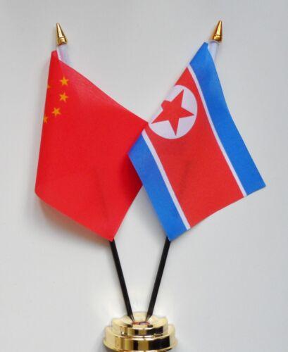 China & North Korea Double Friendship Table Flag Set